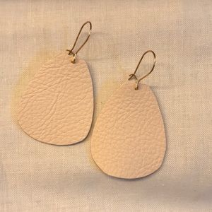Ivory faux leather statement earring